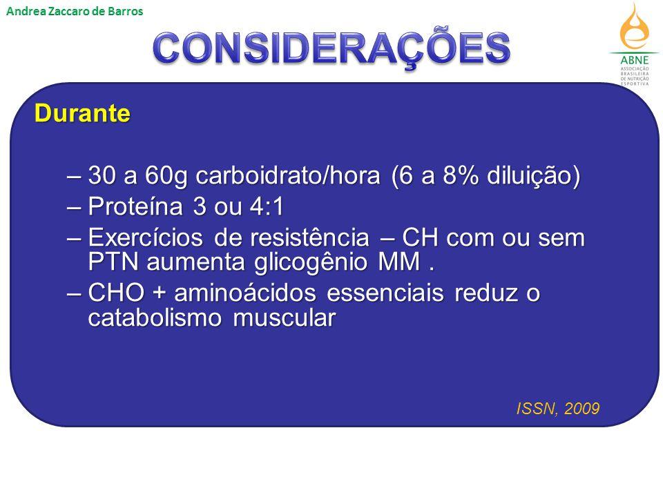 Durante –30 a 60g carboidrato/hora (6 a 8% diluição) –Proteína 3 ou 4:1 –Exercícios de resistência – CH com ou sem PTN aumenta glicogênio MM.