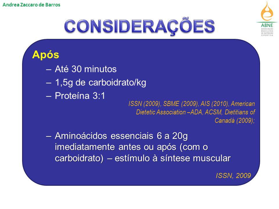 Após –Até 30 minutos –1,5g de carboidrato/kg –Proteína 3:1 –Aminoácidos essenciais 6 a 20g imediatamente antes ou após (com o carboidrato) – estímulo à síntese muscular ISSN, 2009 ISSN (2009), SBME (2009), AIS (2010), American Dietetic Association –ADA, ACSM, Dietitians of Canadá (2009);