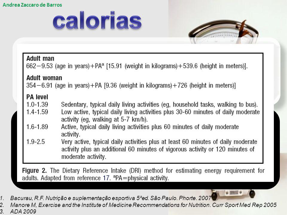 Variações: 30 a 50kcal/ kg de peso/ dia Acréscimo de 500kcal a 1000kcal/dia 1,2 DRIS 3 + METS (equivalente metabólico) + acréscimo Variações: 30 a 50kcal/ kg de peso/ dia Acréscimo de 500kcal a 1000kcal/dia 1,2 DRIS 3 + METS (equivalente metabólico) + acréscimo 1.Bacurau, R.F.