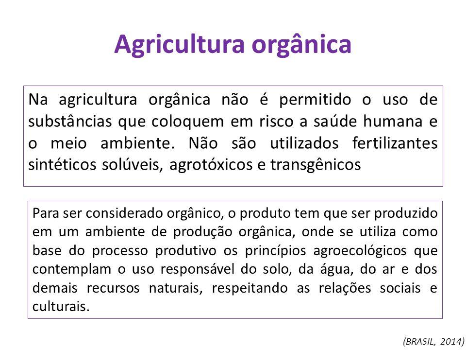 Agricultura orgânica Na agricultura orgânica não é permitido o uso de substâncias que coloquem em risco a saúde humana e o meio ambiente. Não são util