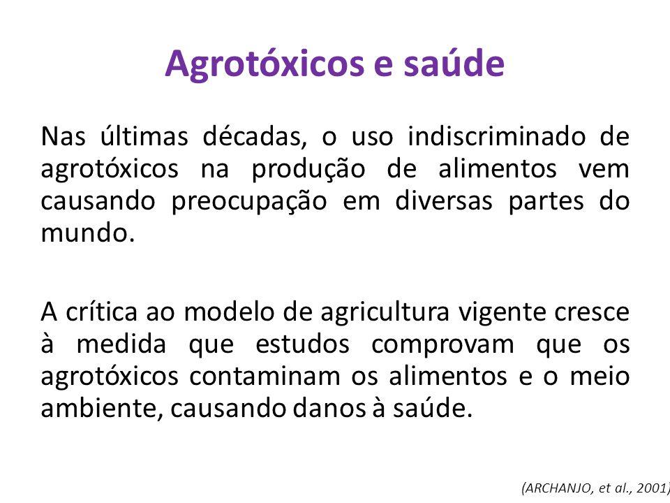 Agrotóxicos e saúde Nas últimas décadas, o uso indiscriminado de agrotóxicos na produção de alimentos vem causando preocupação em diversas partes do m