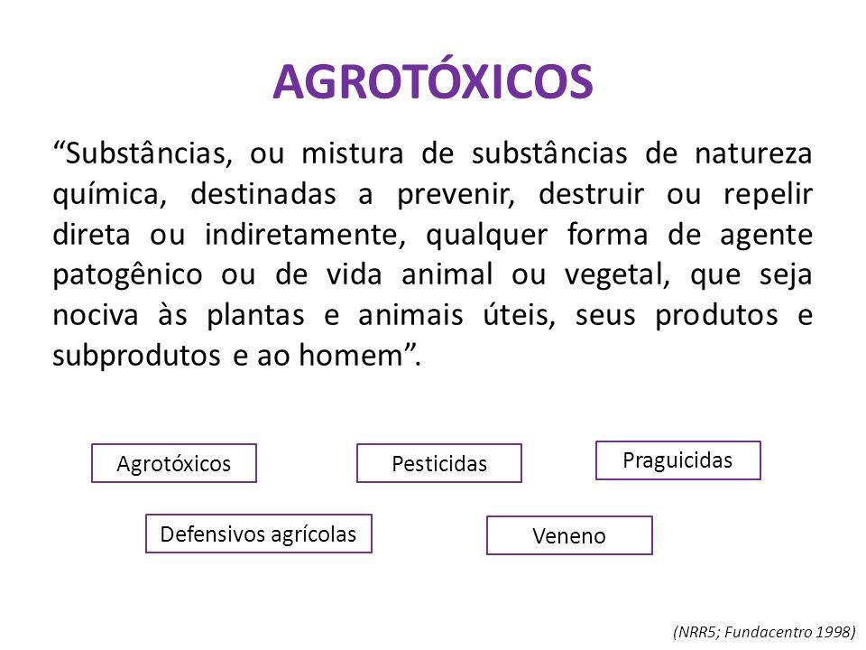 """AGROTÓXICOS """"Substâncias, ou mistura de substâncias de natureza química, destinadas a prevenir, destruir ou repelir direta ou indiretamente, qualquer"""