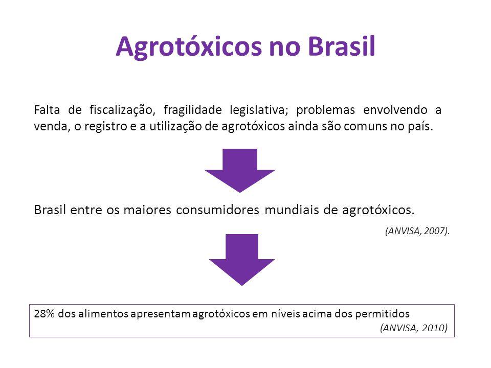 Agrotóxicos no Brasil Brasil entre os maiores consumidores mundiais de agrotóxicos. (ANVISA, 2007). Falta de fiscalização, fragilidade legislativa; pr