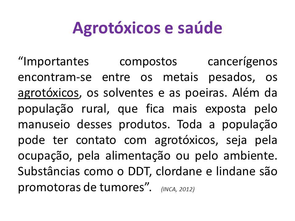 """""""Importantes compostos cancerígenos encontram-se entre os metais pesados, os agrotóxicos, os solventes e as poeiras. Além da população rural, que fica"""