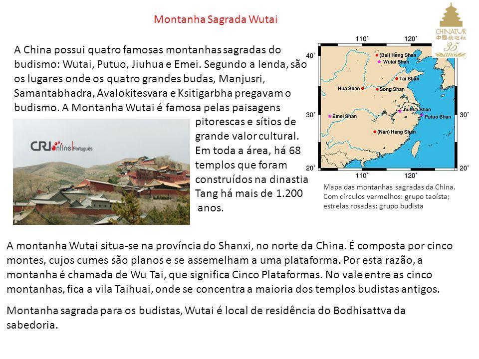 Mapa das montanhas sagradas da China. Com círculos vermelhos: grupo taoísta; estrelas rosadas: grupo budista A China possui quatro famosas montanhas s