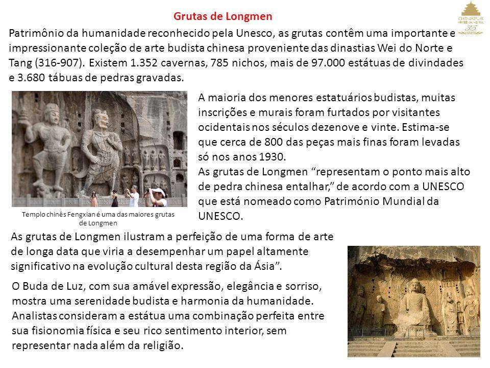 Grutas de Longmen Patrimônio da humanidade reconhecido pela Unesco, as grutas contêm uma importante e impressionante coleção de arte budista chinesa p
