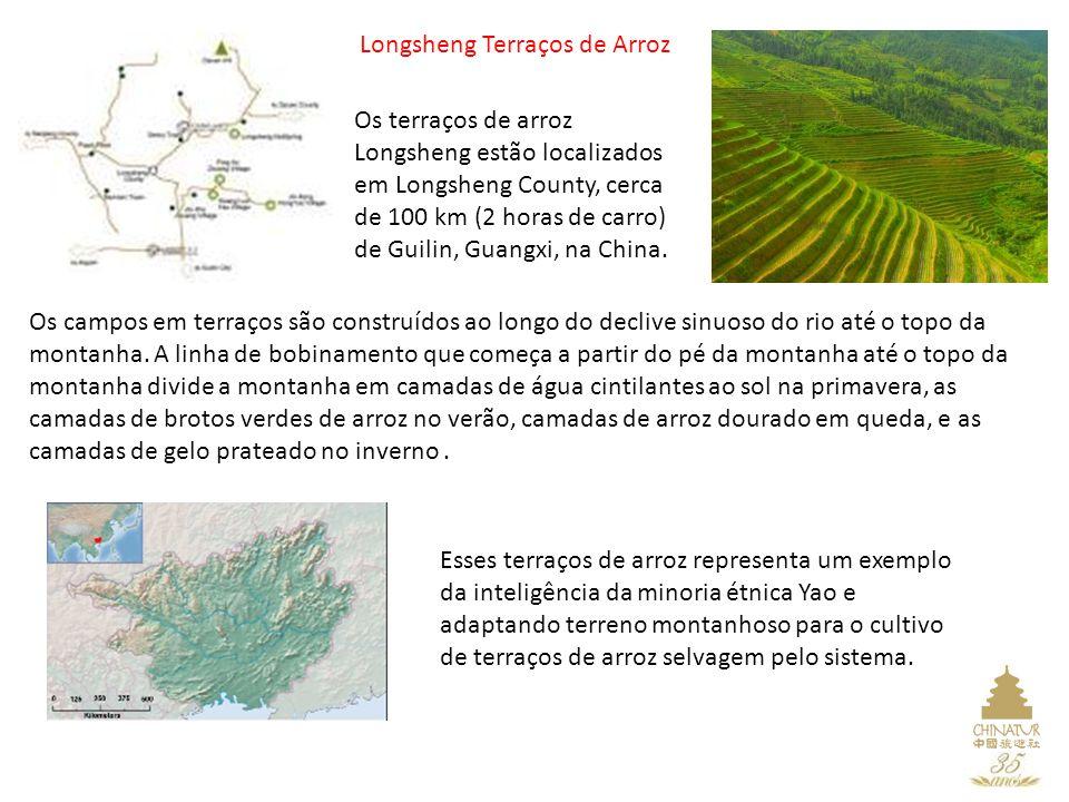 Longsheng Terraços de Arroz Os terraços de arroz Longsheng estão localizados em Longsheng County, cerca de 100 km (2 horas de carro) de Guilin, Guangxi, na China.