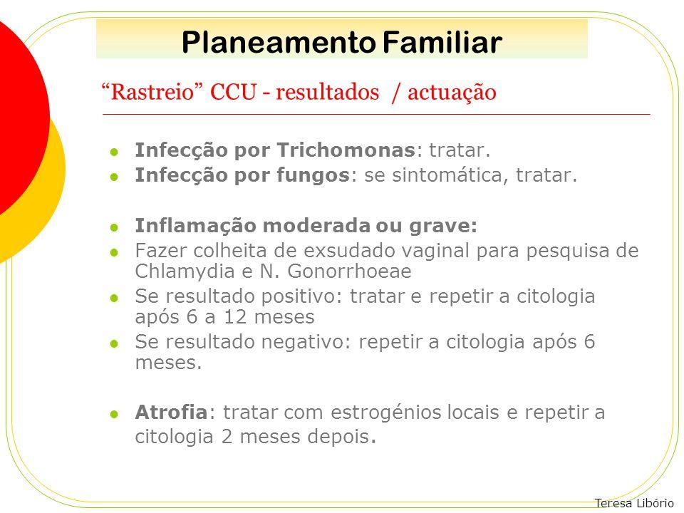 """Teresa Libório """"Rastreio"""" CCU - resultados / actuação Infecção por Trichomonas: tratar. Infecção por fungos: se sintomática, tratar. Inflamação modera"""