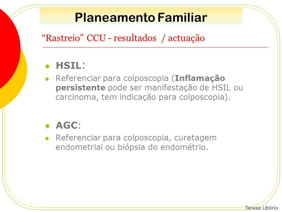 """Teresa Libório """"Rastreio"""" CCU - resultados / actuação HSIL : Referenciar para colposcopia (Inflamação persistente pode ser manifestação de HSIL ou car"""