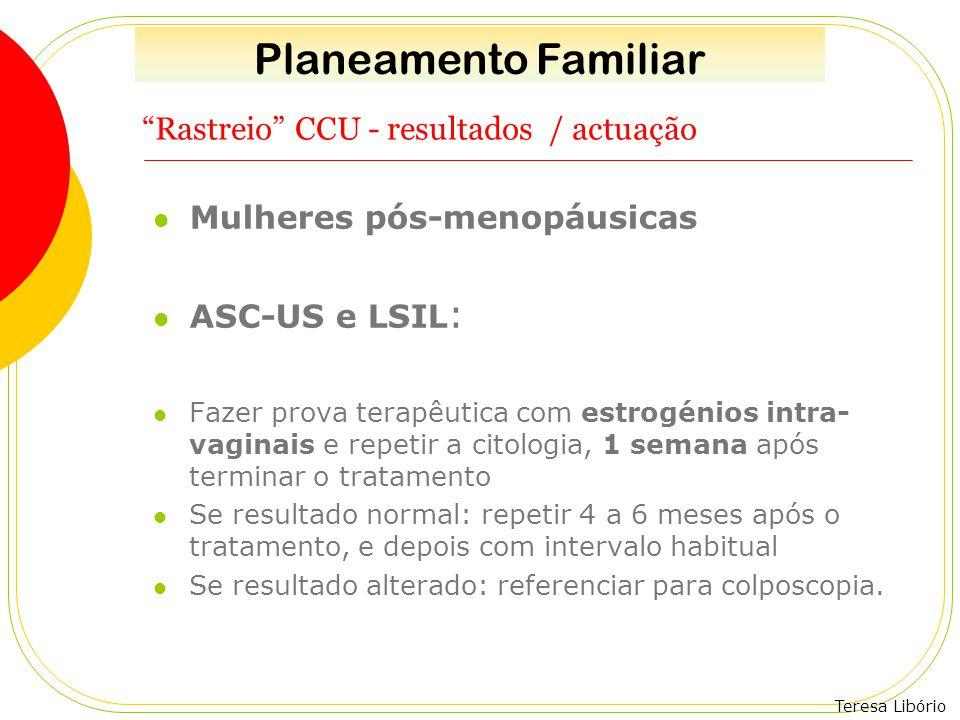 """Teresa Libório """"Rastreio"""" CCU - resultados / actuação Mulheres pós-menopáusicas ASC-US e LSIL : Fazer prova terapêutica com estrogénios intra- vaginai"""