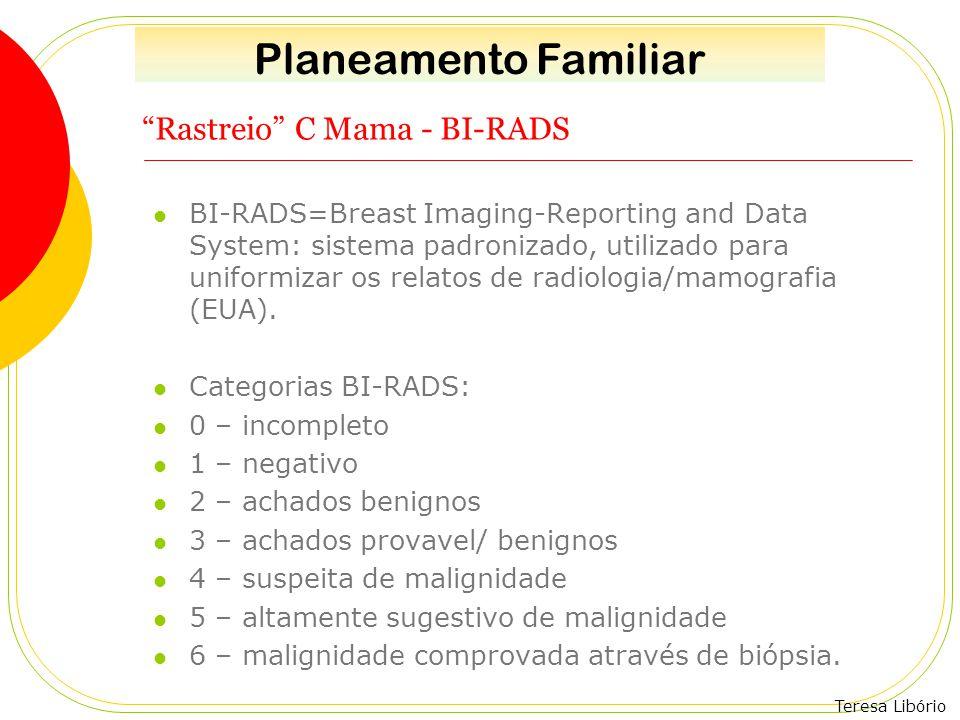 """Teresa Libório """"Rastreio"""" C Mama - BI-RADS BI-RADS=Breast Imaging-Reporting and Data System: sistema padronizado, utilizado para uniformizar os relato"""