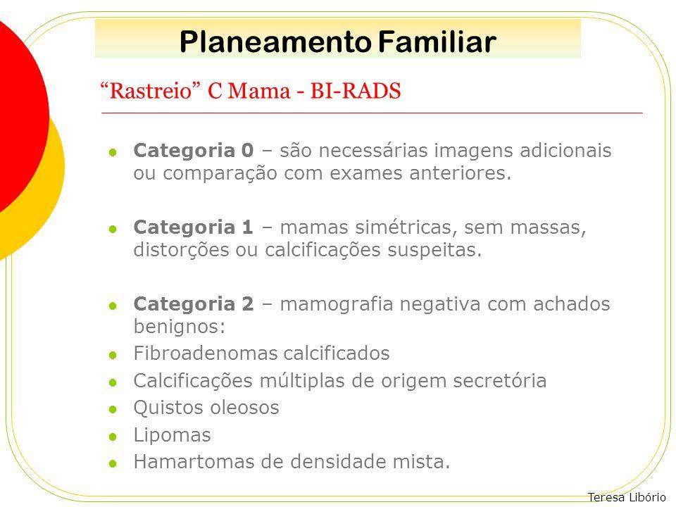 """Teresa Libório """"Rastreio"""" C Mama - BI-RADS Categoria 0 – são necessárias imagens adicionais ou comparação com exames anteriores. Categoria 1 – mamas s"""
