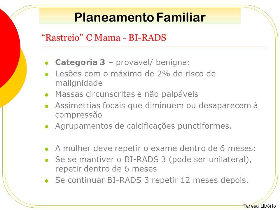 """Teresa Libório """"Rastreio"""" C Mama - BI-RADS Categoria 3 – provavel/ benigna: Lesões com o máximo de 2% de risco de malignidade Massas circunscritas e n"""