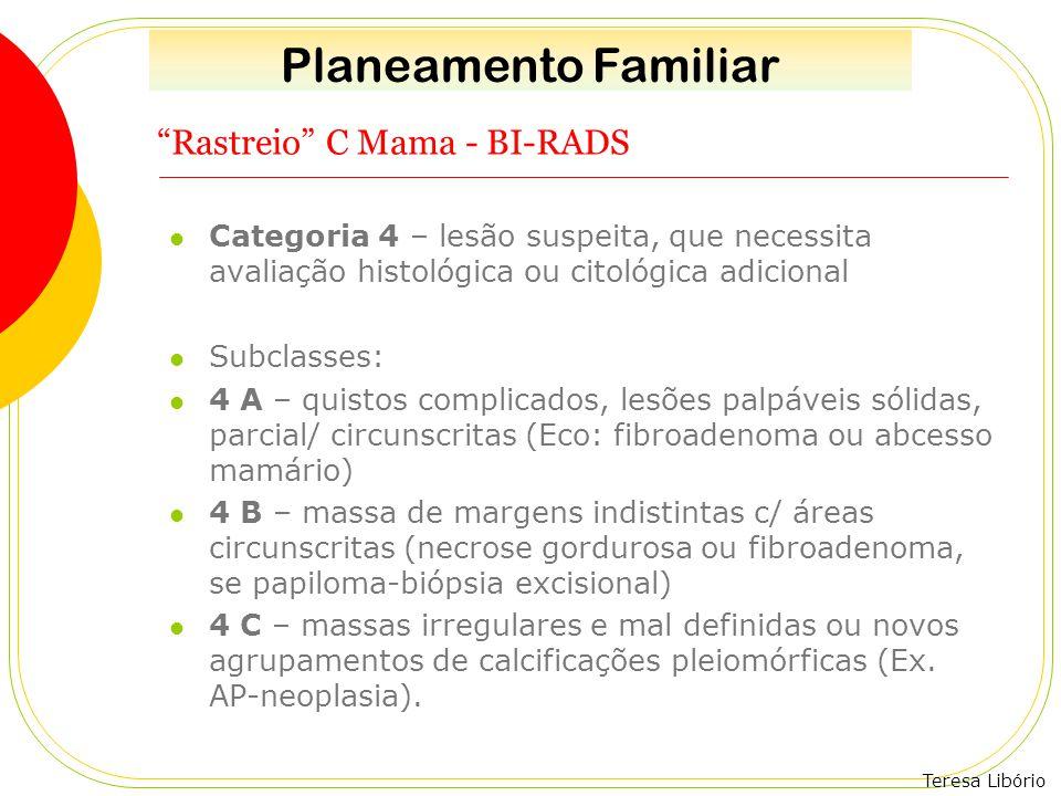 """Teresa Libório """"Rastreio"""" C Mama - BI-RADS Categoria 4 – lesão suspeita, que necessita avaliação histológica ou citológica adicional Subclasses: 4 A –"""