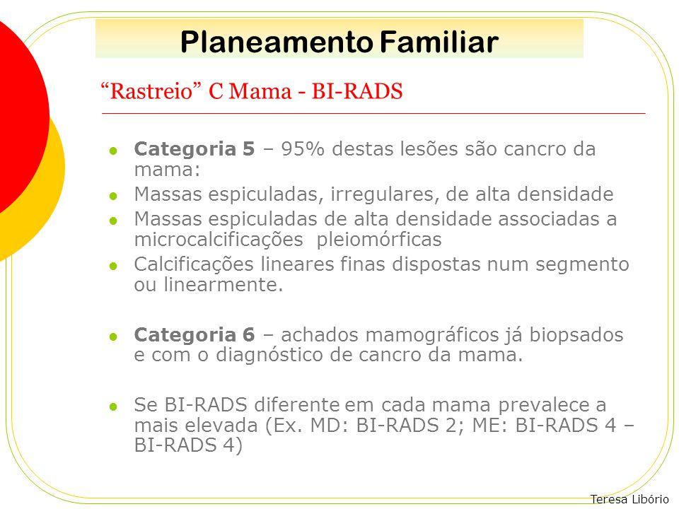 """Teresa Libório """"Rastreio"""" C Mama - BI-RADS Categoria 5 – 95% destas lesões são cancro da mama: Massas espiculadas, irregulares, de alta densidade Mass"""