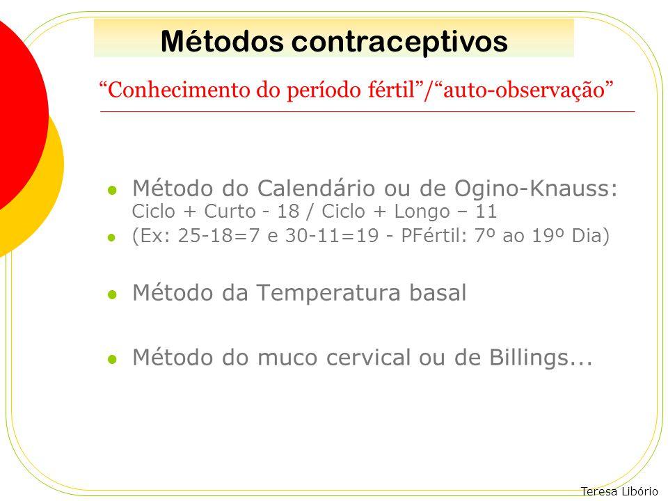 """Teresa Libório """"Conhecimento do período fértil""""/""""auto-observação"""" Método do Calendário ou de Ogino-Knauss: Ciclo + Curto - 18 / Ciclo + Longo – 11 (Ex"""