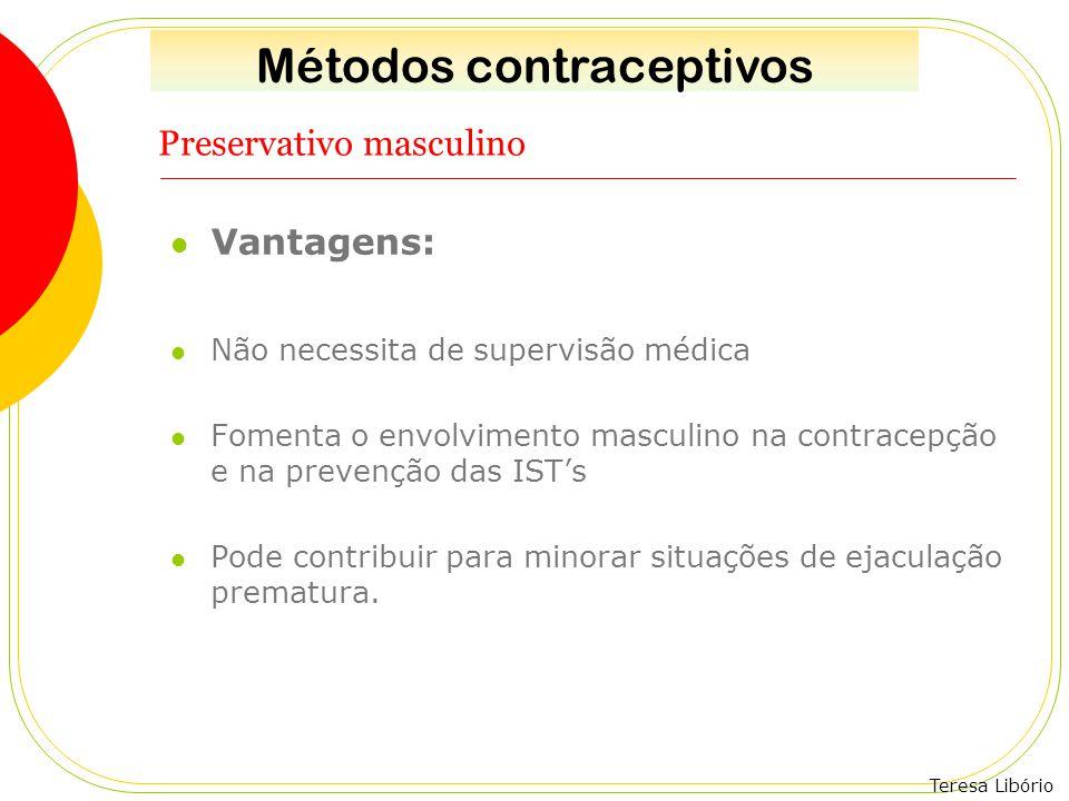 Teresa Libório Preservativo masculino Vantagens: Não necessita de supervisão médica Fomenta o envolvimento masculino na contracepção e na prevenção da