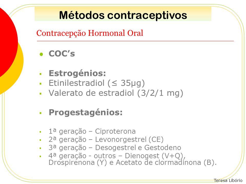 Teresa Libório Contracepção Hormonal Oral COC's  Estrogénios:  Etinilestradiol (≤ 35µg)  Valerato de estradiol (3/2/1 mg)  Progestagénios:  1ª ge