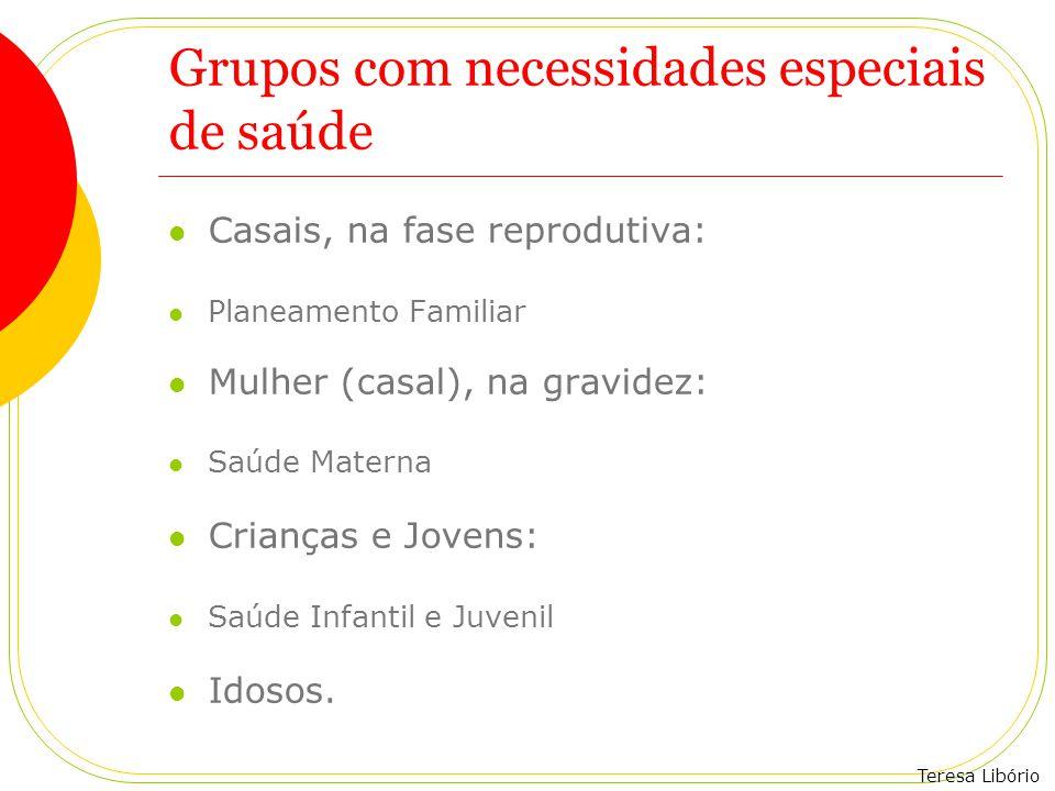 Teresa Libório Grupos com necessidades especiais de saúde Casais, na fase reprodutiva: Planeamento Familiar Mulher (casal), na gravidez: Saúde Materna