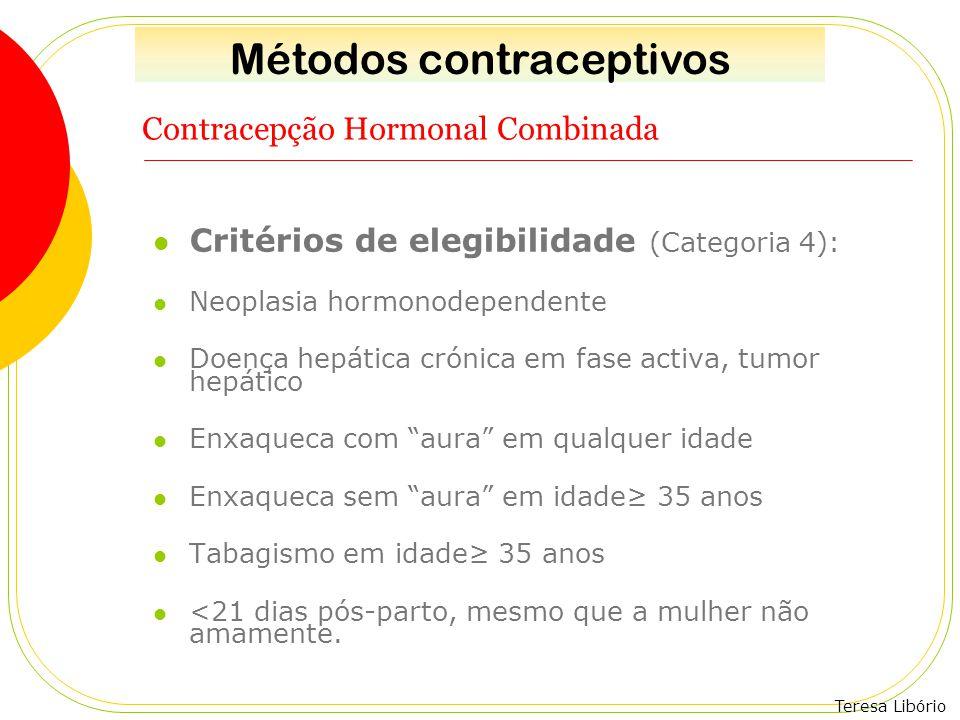 Teresa Libório Contracepção Hormonal Combinada Critérios de elegibilidade (Categoria 4): Neoplasia hormonodependente Doença hepática crónica em fase a
