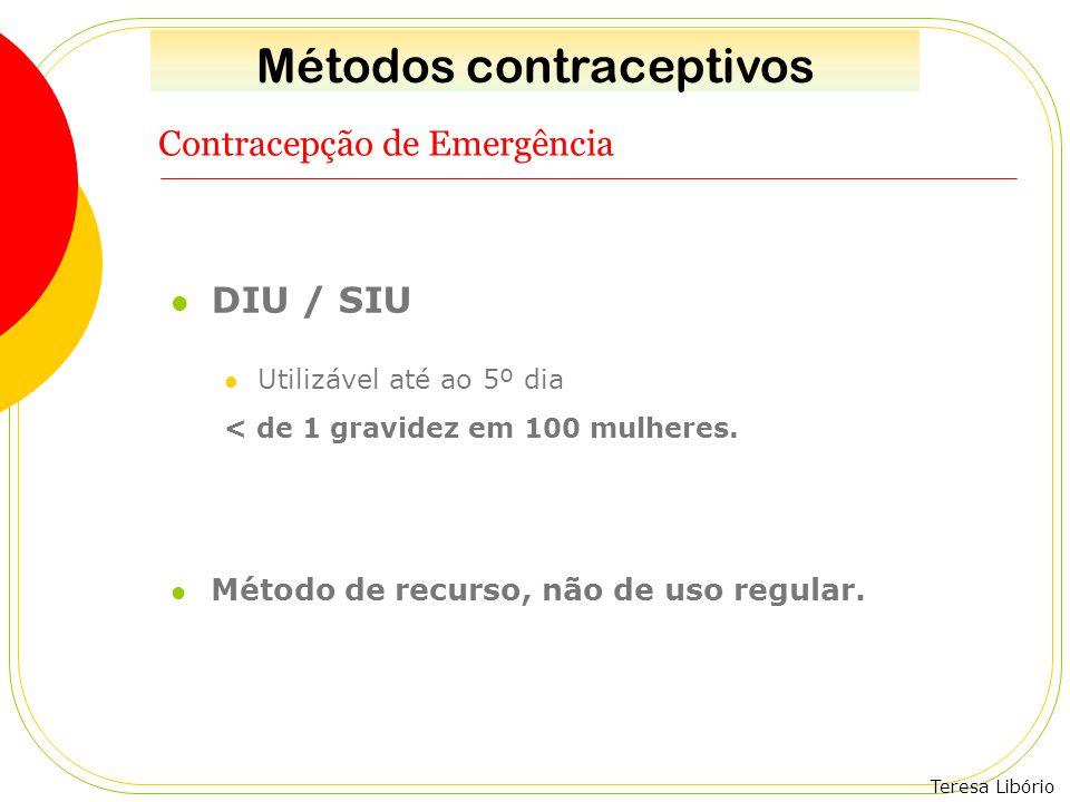 Teresa Libório Contracepção de Emergência DIU / SIU Utilizável até ao 5º dia < de 1 gravidez em 100 mulheres. Método de recurso, não de uso regular. M