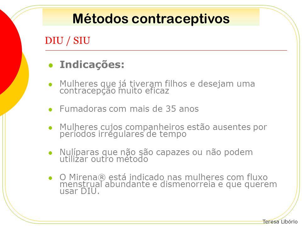 Teresa Libório DIU / SIU Indicações: Mulheres que já tiveram filhos e desejam uma contracepção muito eficaz Fumadoras com mais de 35 anos Mulheres cuj