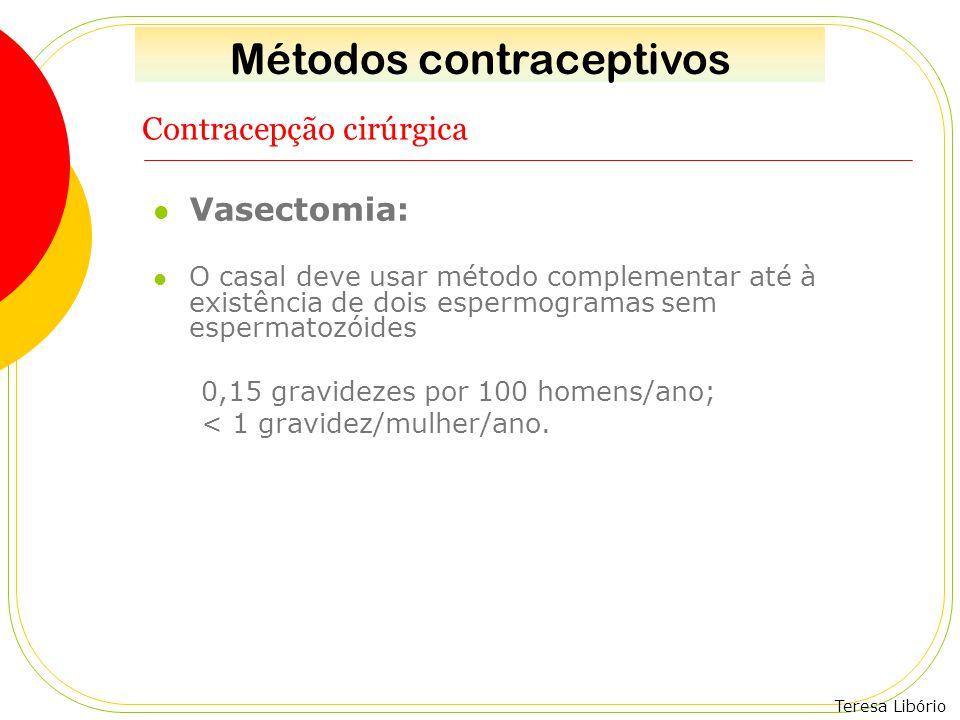 Teresa Libório Contracepção cirúrgica Vasectomia: O casal deve usar método complementar até à existência de dois espermogramas sem espermatozóides 0,1
