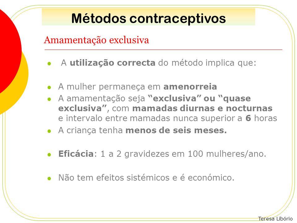 """Teresa Libório Amamentação exclusiva A utilização correcta do método implica que: A mulher permaneça em amenorreia A amamentação seja """"exclusiva"""" ou """""""