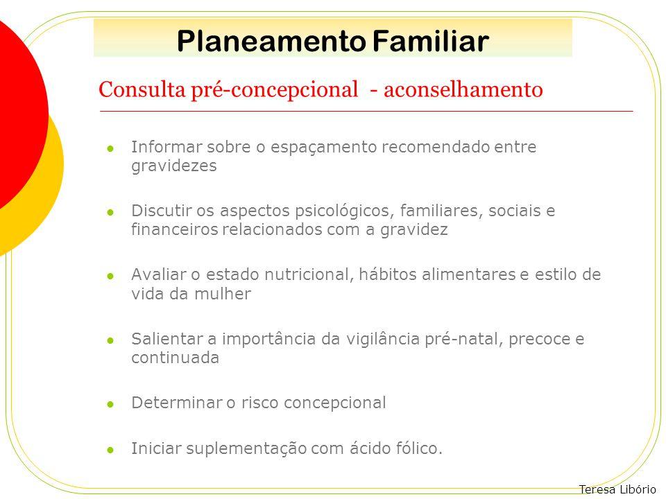 Teresa Libório Consulta pré-concepcional - aconselhamento Informar sobre o espaçamento recomendado entre gravidezes Discutir os aspectos psicológicos,