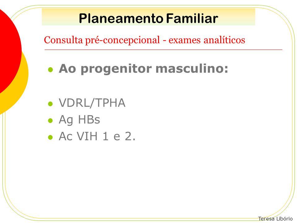 Teresa Libório Consulta pré-concepcional - exames analíticos Ao progenitor masculino: VDRL/TPHA Ag HBs Ac VIH 1 e 2. Planeamento Familiar