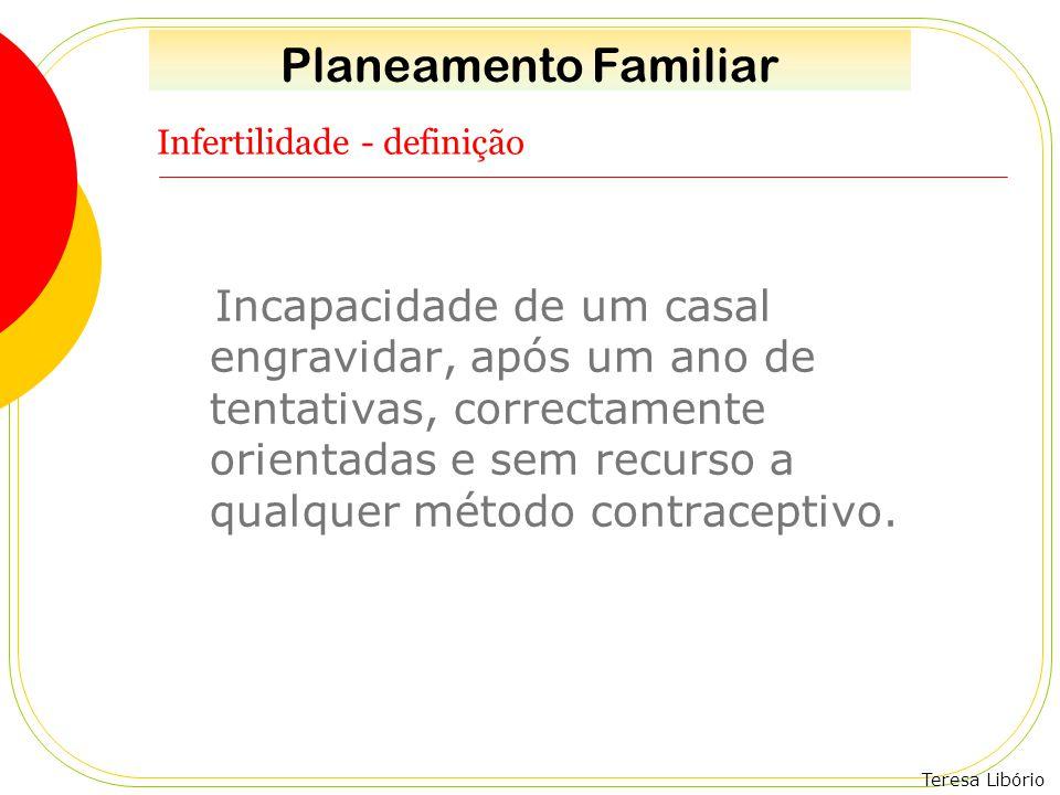 Teresa Libório Infertilidade - definição Incapacidade de um casal engravidar, após um ano de tentativas, correctamente orientadas e sem recurso a qual