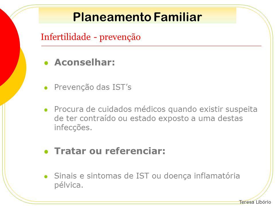 Teresa Libório Infertilidade - prevenção Aconselhar: Prevenção das IST's Procura de cuidados médicos quando existir suspeita de ter contraído ou estad
