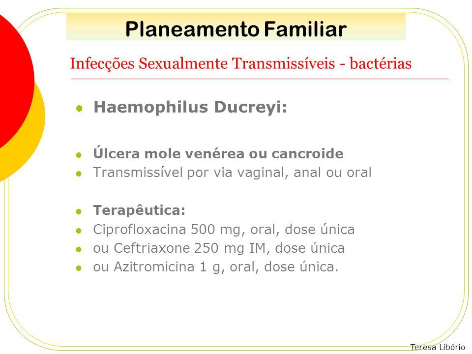 Teresa Libório Infecções Sexualmente Transmissíveis - bactérias Haemophilus Ducreyi: Úlcera mole venérea ou cancroide Transmissível por via vaginal, a