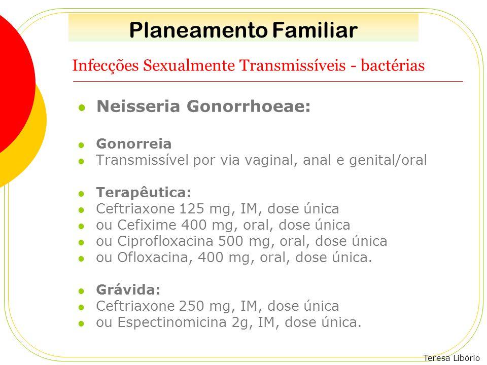 Teresa Libório Infecções Sexualmente Transmissíveis - bactérias Neisseria Gonorrhoeae: Gonorreia Transmissível por via vaginal, anal e genital/oral Te