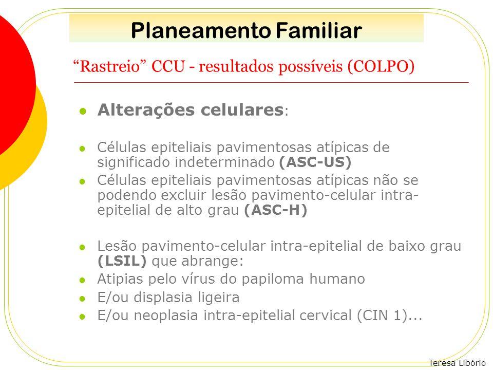 """Teresa Libório """"Rastreio"""" CCU - resultados possíveis (COLPO) Alterações celulares : Células epiteliais pavimentosas atípicas de significado indetermin"""