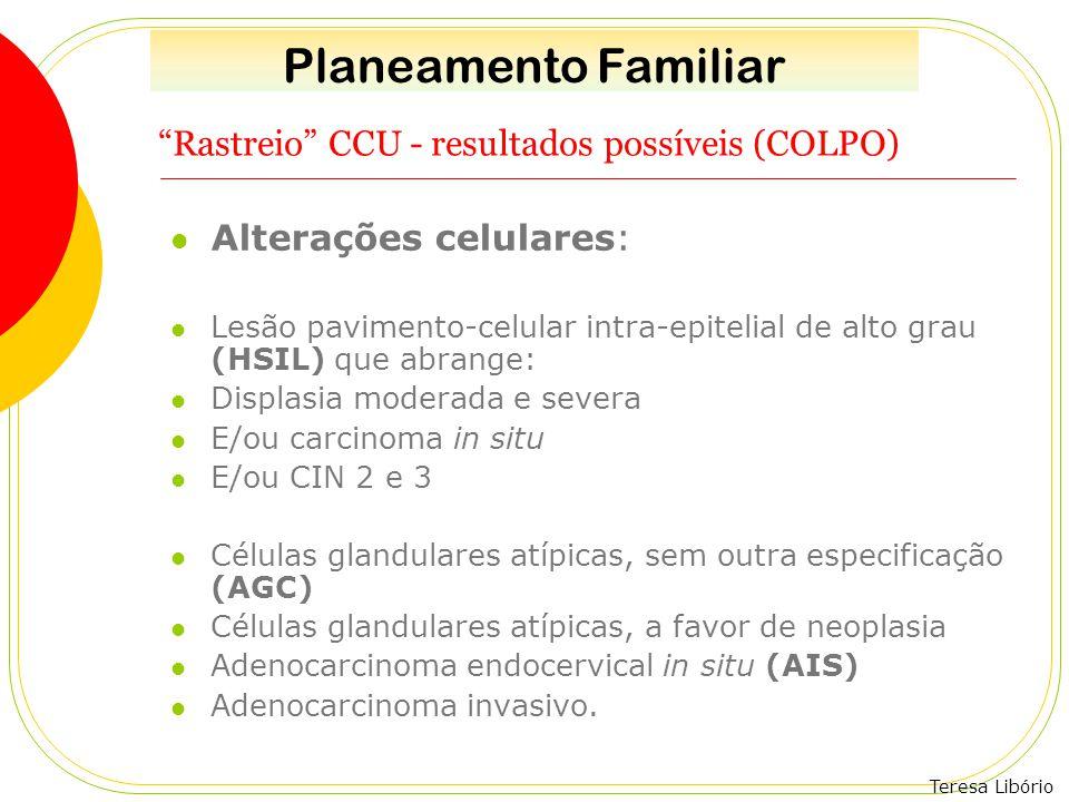 """Teresa Libório """"Rastreio"""" CCU - resultados possíveis (COLPO) Alterações celulares: Lesão pavimento-celular intra-epitelial de alto grau (HSIL) que abr"""