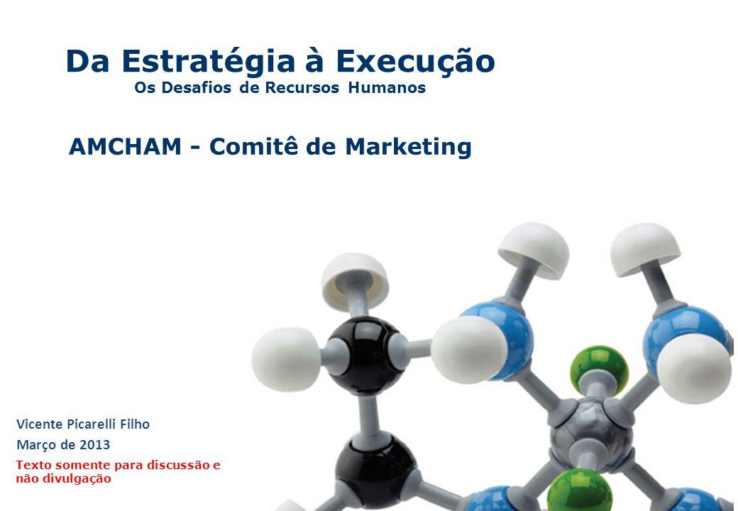 Da Estratégia à Execução Os Desafios de Recursos Humanos Vicente Picarelli Filho Março de 2013 Texto somente para discussão e não divulgação AMCHAM -