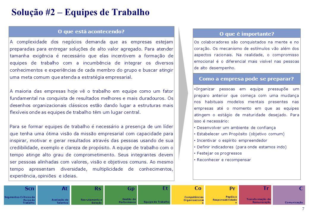 7 Solução #2 – Equipes de Trabalho O que está acontecendo? A complexidade dos negócios demanda que as empresas estejam preparadas para entregar soluçõ
