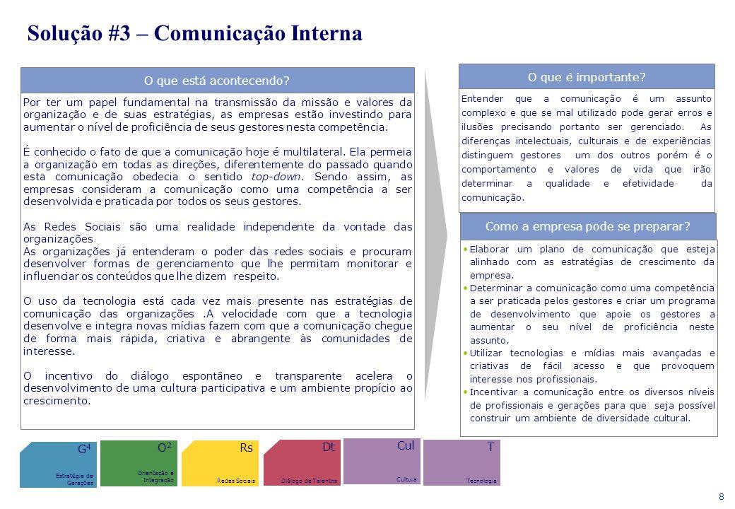 8 Solução #3 – Comunicação Interna O que está acontecendo? Por ter um papel fundamental na transmissão da missão e valores da organização e de suas es