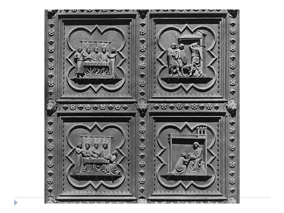 """ Convenções:  - o material: bronze  - o local: porta do Batistério.  - as dimensões( 53 x 43cm ) e a moldura.  - o tema: """"O Sacrifício de Isaac""""."""