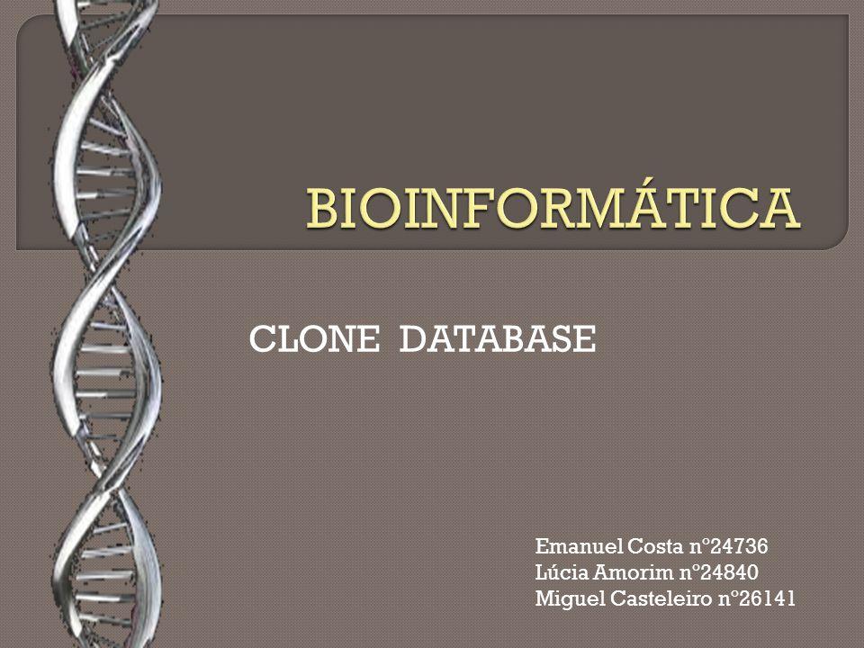 NCBI Clone Registry Criado na época dos 'human and mouse genome projects' NCBI Clone DataBase International Knockout Mouse Consortium International Gene Trap Consortium Planeada uma expansão à base de dados que vai adicionar mais registos do tipo dos anteriores e adicionar registos de clones de DNA complementar Substituído e expandido Bibliotecas: Futuramente
