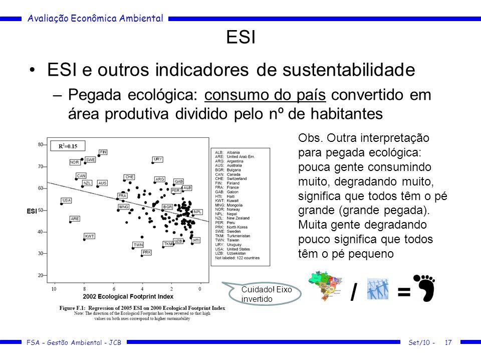 Avaliação Econômica Ambiental FSA – Gestão Ambiental - JCB ESI ESI e outros indicadores de sustentabilidade –Pegada ecológica: consumo do país convertido em área produtiva dividido pelo nº de habitantes Set/10 -17 Obs.