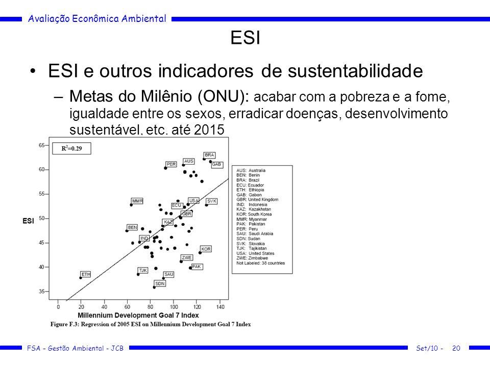 Avaliação Econômica Ambiental FSA – Gestão Ambiental - JCB ESI ESI e outros indicadores de sustentabilidade –Metas do Milênio (ONU): acabar com a pobreza e a fome, igualdade entre os sexos, erradicar doenças, desenvolvimento sustentável, etc.