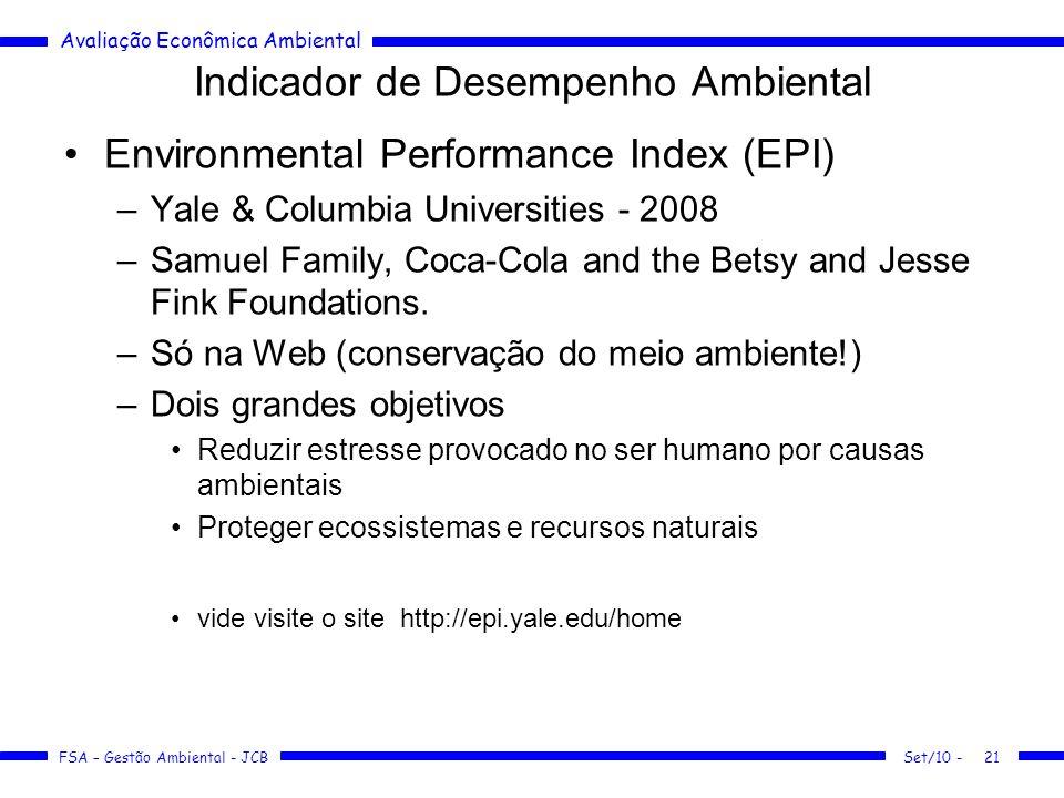 Avaliação Econômica Ambiental FSA – Gestão Ambiental - JCB Indicador de Desempenho Ambiental Environmental Performance Index (EPI) –Yale & Columbia Universities - 2008 –Samuel Family, Coca-Cola and the Betsy and Jesse Fink Foundations.