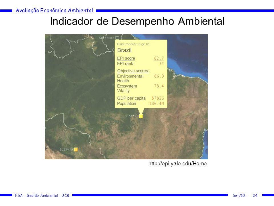 Avaliação Econômica Ambiental FSA – Gestão Ambiental - JCB Indicador de Desempenho Ambiental Set/10 -24 http://epi.yale.edu/Home
