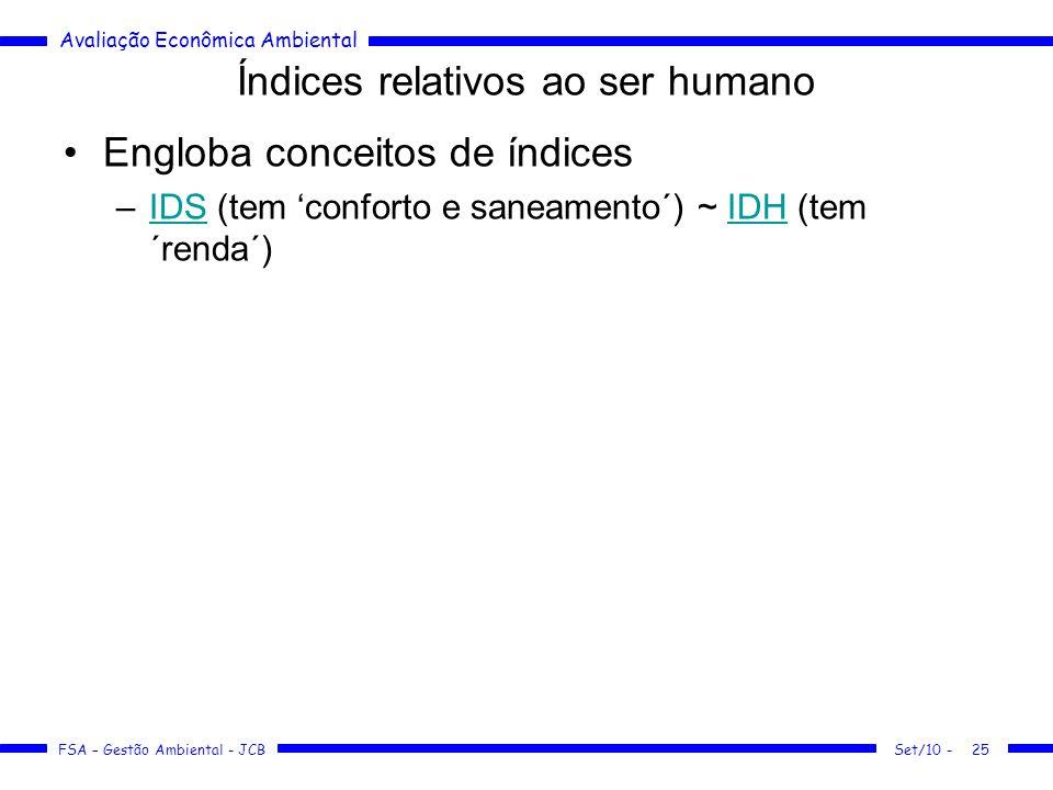 Avaliação Econômica Ambiental FSA – Gestão Ambiental - JCB Índices relativos ao ser humano Engloba conceitos de índices –IDS (tem 'conforto e saneamento´) ~ IDH (tem ´renda´)IDSIDH Set/10 -25