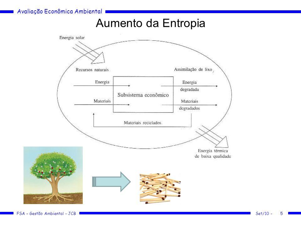 Avaliação Econômica Ambiental FSA – Gestão Ambiental - JCB Aumento da Entropia Set/10 -5