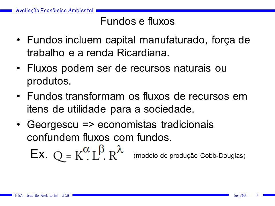 Avaliação Econômica Ambiental FSA – Gestão Ambiental - JCB Limites na produção humana Set/10 -8 Q = produto por período de tempo (fluxo) K = estoque de capital (fundo) L = suprimento de trabalho (fundo) R = fluxo de recursos naturais (fluxo)  e = parâmetros fixos Erro: (K e R são as duas faces da mesma moeda!)