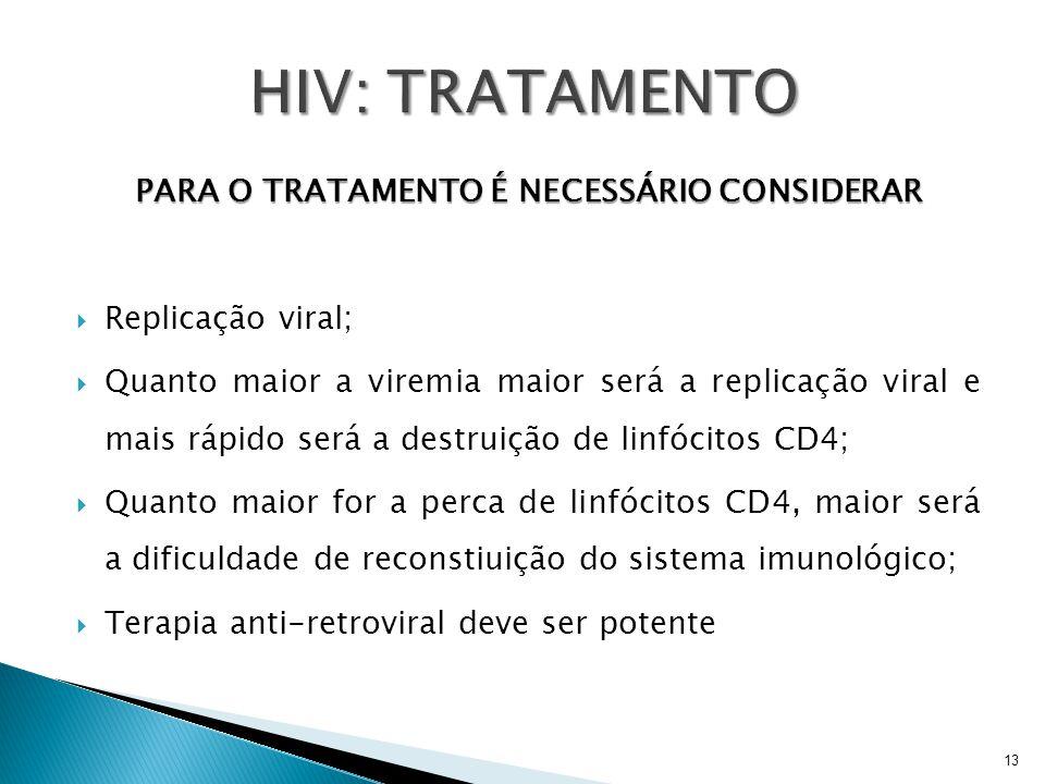 PARA O TRATAMENTO É NECESSÁRIO CONSIDERAR  Replicação viral;  Quanto maior a viremia maior será a replicação viral e mais rápido será a destruição d