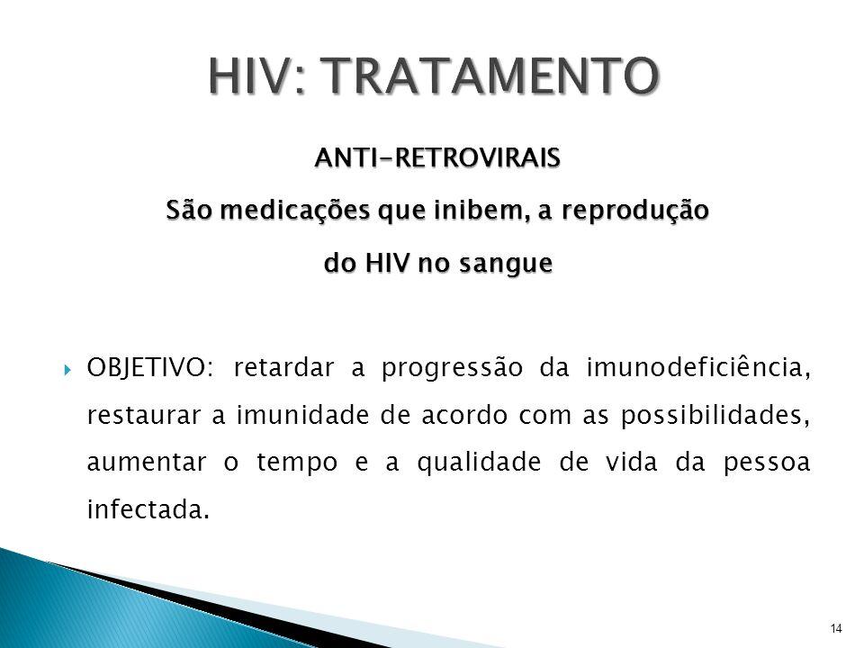 ANTI-RETROVIRAIS São medicações que inibem, a reprodução do HIV no sangue  OBJETIVO: retardar a progressão da imunodeficiência, restaurar a imunidade